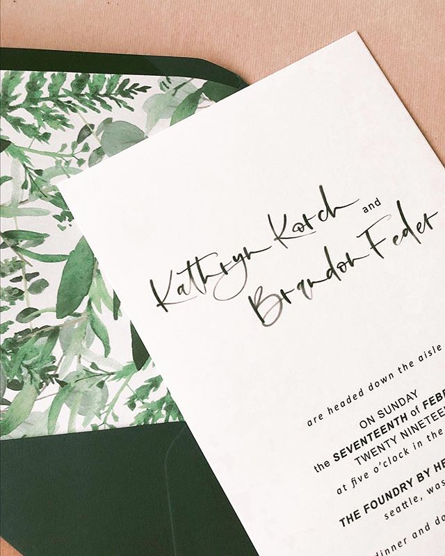 I almost like these liners as much as I do this couple 😍🌿🍃🌱 • • • #seattlecalligrapher #envelopliners #seattleweddingcalligraphy #stationery #moderncalligrapher #moderncalligrapher  #weddinginspo #weddingsuite #pnwbride #westseattle  #adventurebride #semicustom #classicinvitations #weddinginvitations