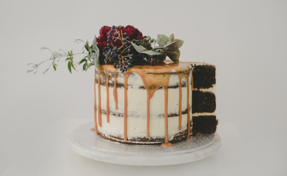 Salted caramel and chocolate layer cake