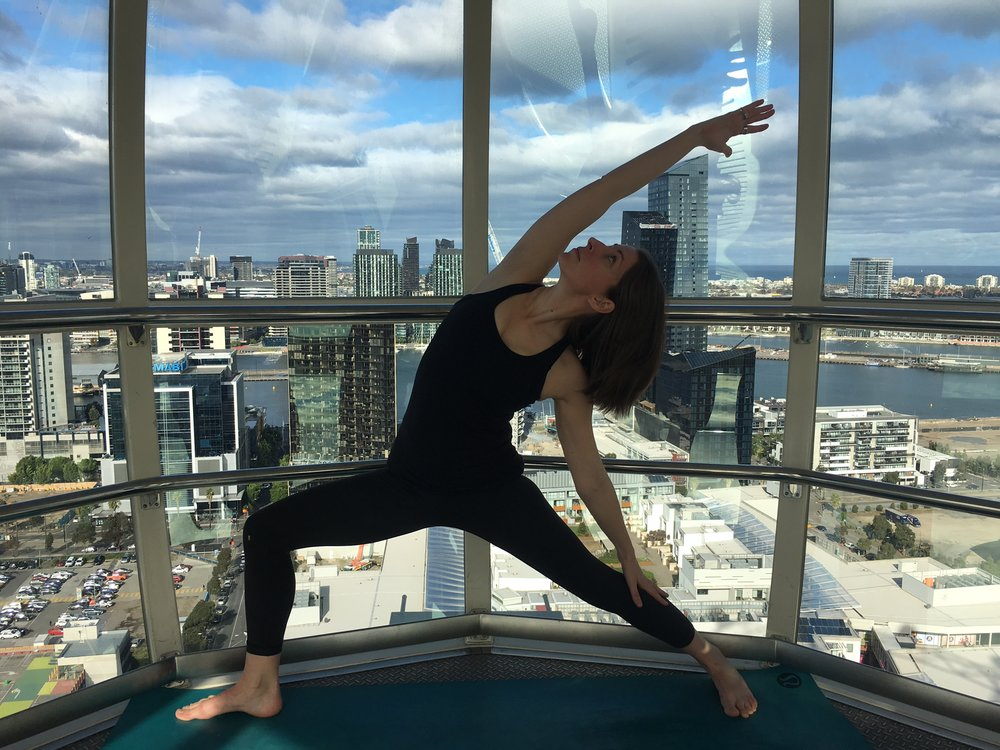 Yoga in the Sky, Melbourne  - Roar Spirit also delivers private and intimate yoga classes, for all levels, within the temperature controlled cabins of the Melbourne Star Observation Wheel in Docklands, Melbourne. To find out more or book your private class 100 metres off the ground click here.