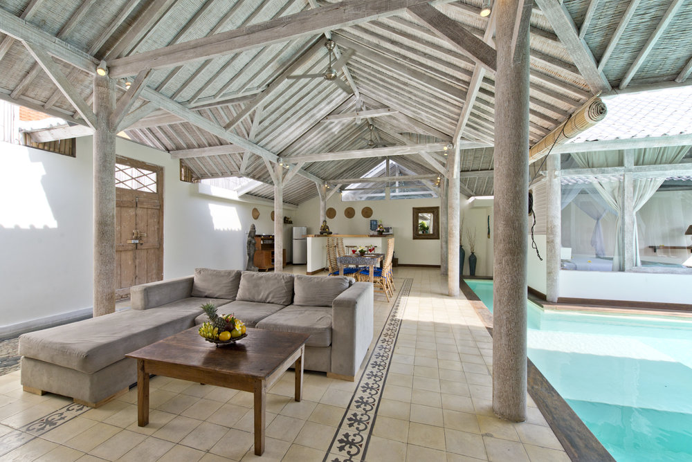 2 bedroom villa living room with pool view
