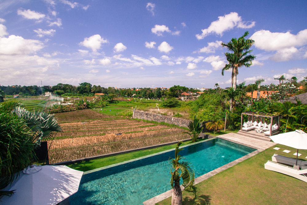 pool and rice fields view