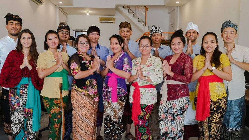 Bali management team in traditional balinese outfit