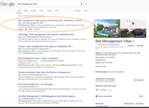 Search Optimization Villa bali