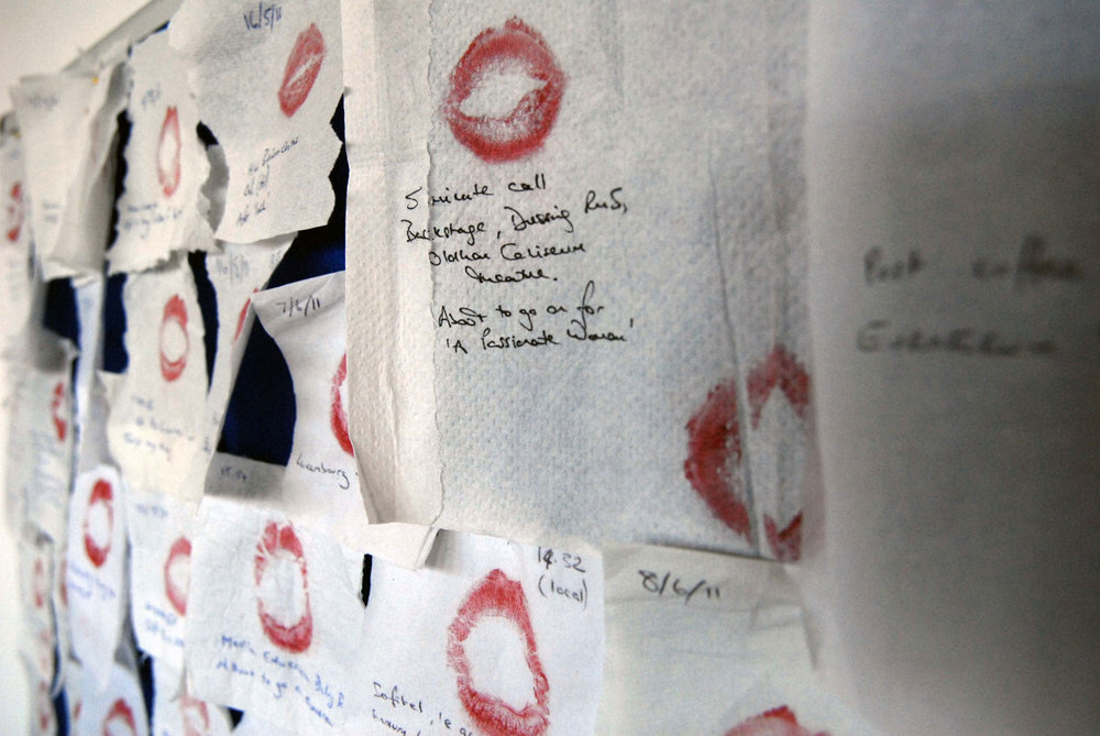 Translating a diary into a lipstick installation   Social Butterfly: diary in Coco Rouge 25.  Exhibited at Art's Complex, Edinburgh, 2013.  Photography by  Sheila Masson .