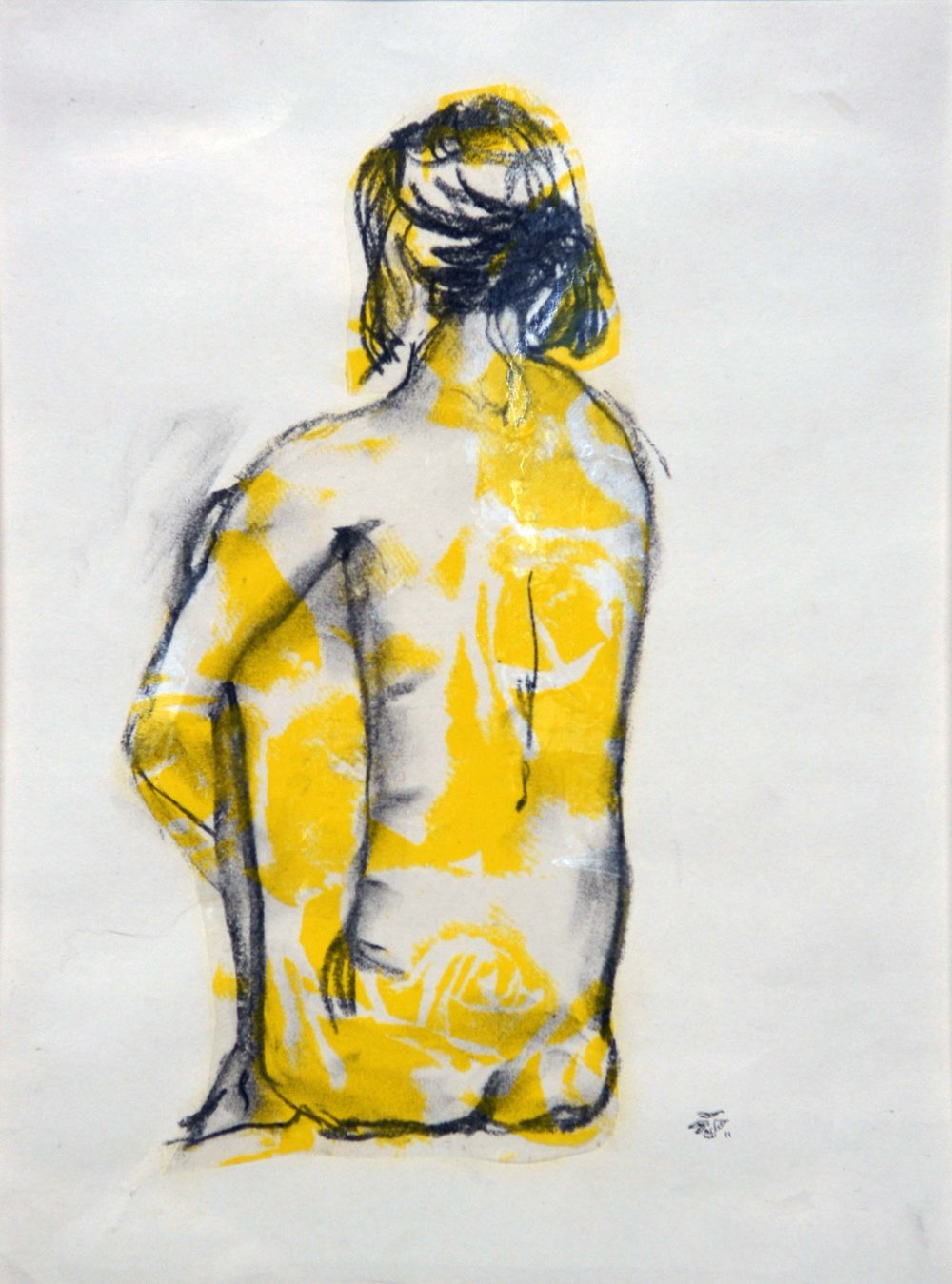 Translating a human figure into marks on paper   Figure sketch in charcoal and florist's cellophane, 2012. SOLD