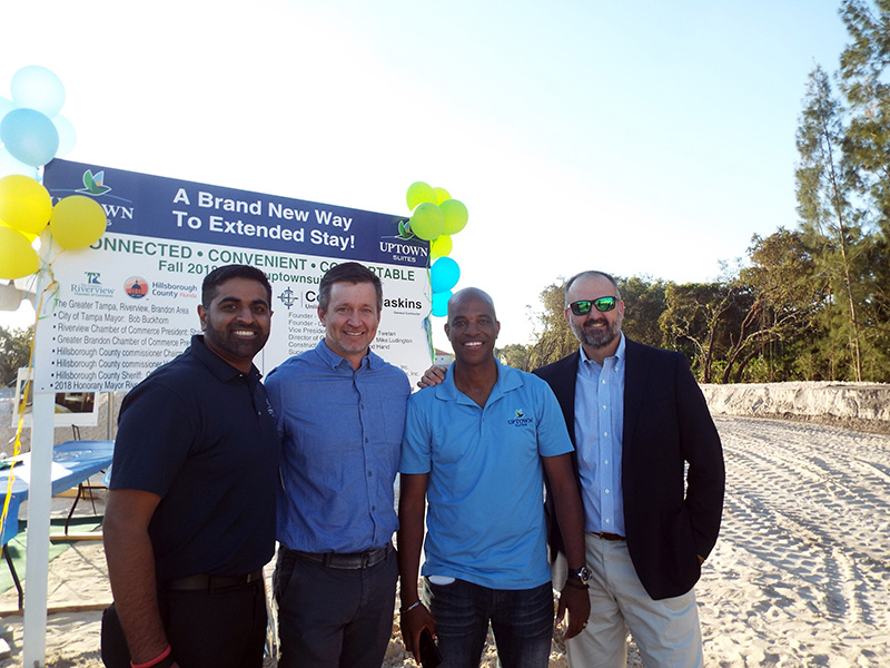 At the groundbreaking in Riverview: From left: Ankit Patel, Acquisitions and Development Manager; Andrew Twetan, VP/Partner, Connor & Gaskins Unlimited, LLC; Gary Scott, Director of Development; and Michael Haas, Sr. VP of Real Estate & Acquisitions.