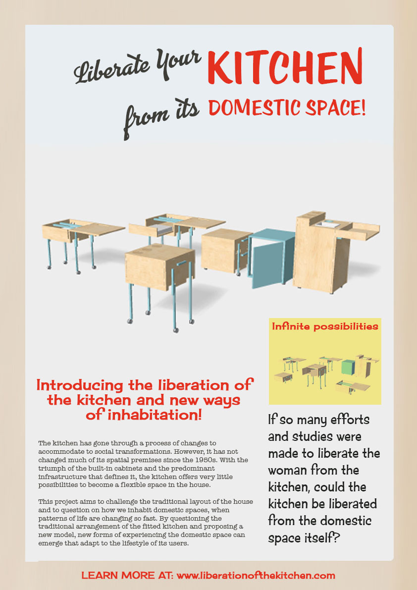 "Advertisements play in today's society a crucial role. As author Anika Hashem (2016) remarks ""besides helping businesses sell products, advertisements often reflect the general beliefs of their time period."" In the 60s they intensively publicized the kitchen as a female domain. The Liberation of the Kitchen offers a new perspective by promoting a liberation from the domestic space itself."