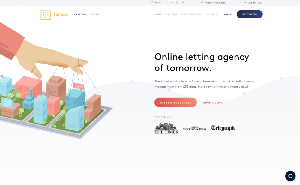 A coming soon page design for online letting platform.