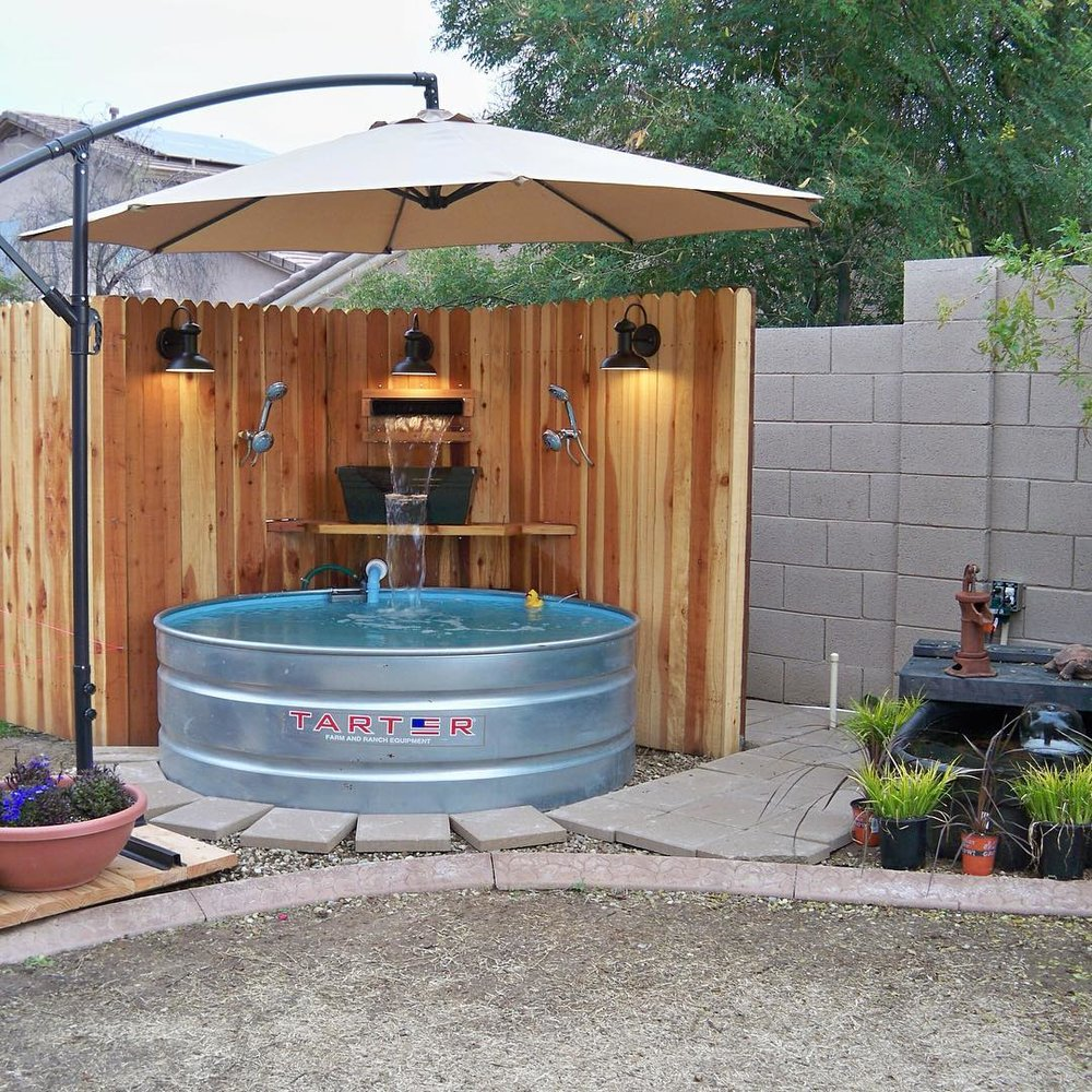 Backyard Stock tank pool by @astrollthrulife