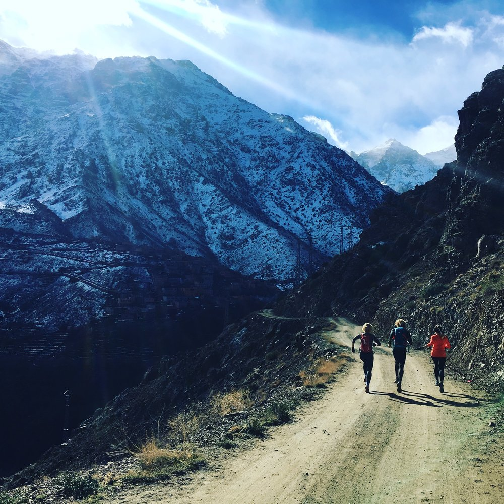 Run - out the front door of your hotel straight onto beautiful mountain trails that take us through local berber villages and spectacular views of the high atlas mountains.   All abilities welcome.