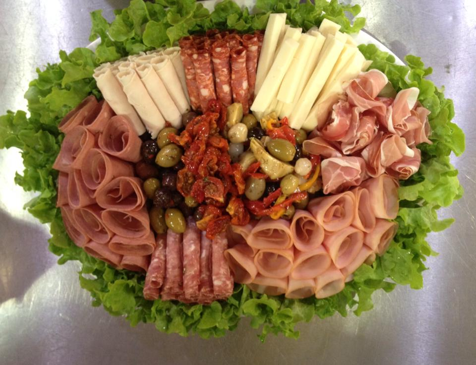 Platters - Meat Antipasto - Small $50 Large $65 - Gourmet Antipasto - Small $55 Large $70 - Sandwich/ Panini Gourmet Mini- Panini - $35 - Gourmet Sandwiches - $40 -Gourmet Wraps - $45 -Cheese- $45 - The Perfect Cheese - $69 - Fruit - Small $60 - Large $75 -