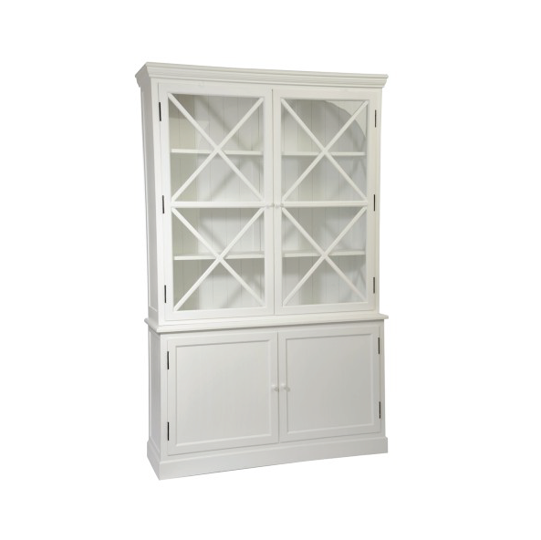 Buffet 4 Door Wood / Glass, White, 137x38x136CM