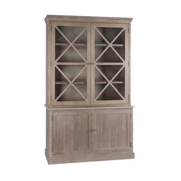 Sideboard 4 Door Cross, Wood / Glass, Natural, 137x38x136CM