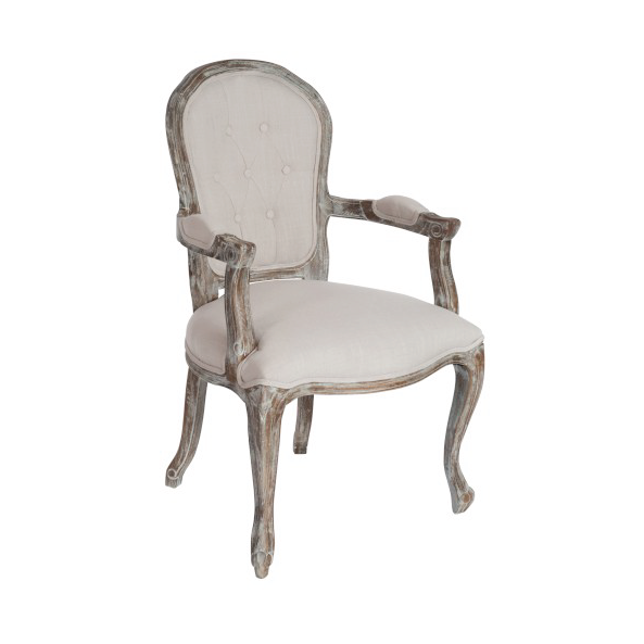 Arm Chair Button Louisa Oak Beige (also available in Taupe & Brown)