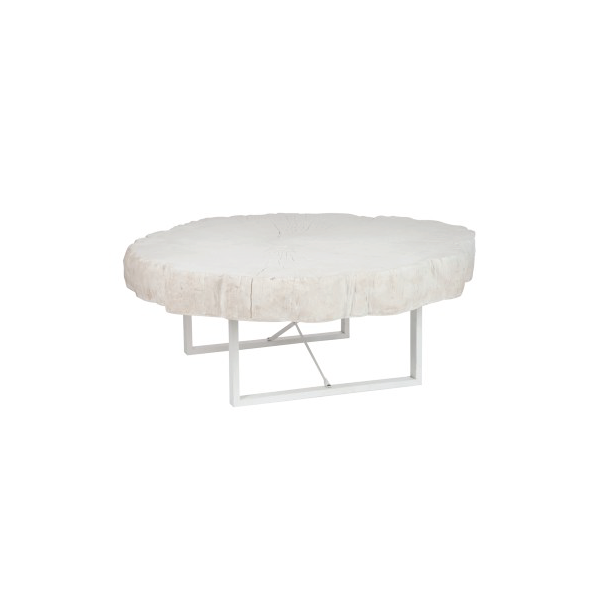 Round Coffee Table, Poly, White, 117x107x43CM