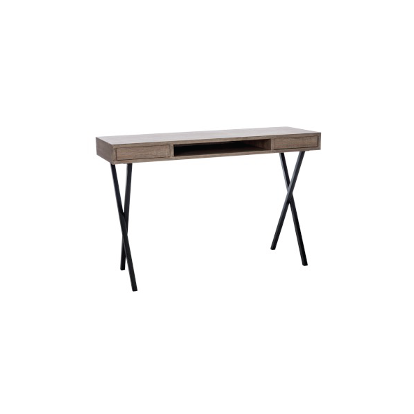 Desk Modern Rectangle, 2 Shelves, Wood, Natural (also available in Black)