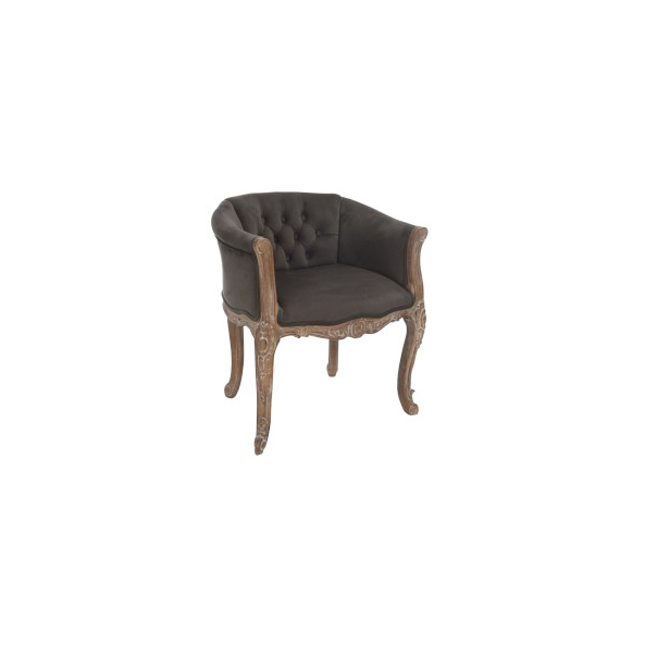 Club Seat Bergere 1 Person, Oak / Velvet, Brown
