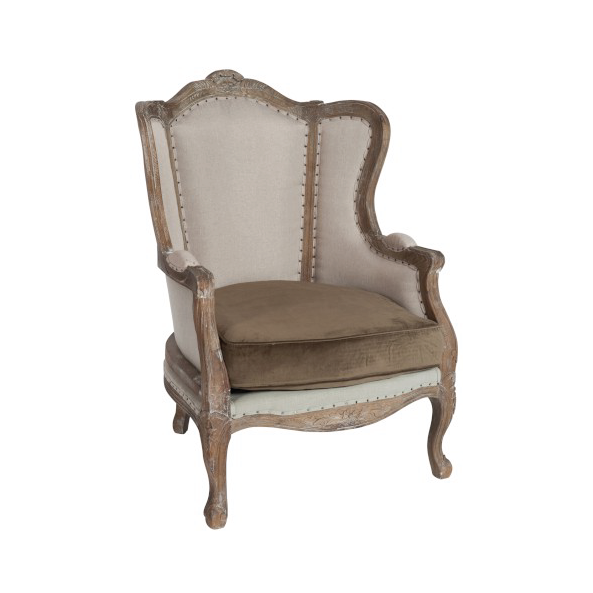 Seat Queen Anne 1 Person, Oak, Grey
