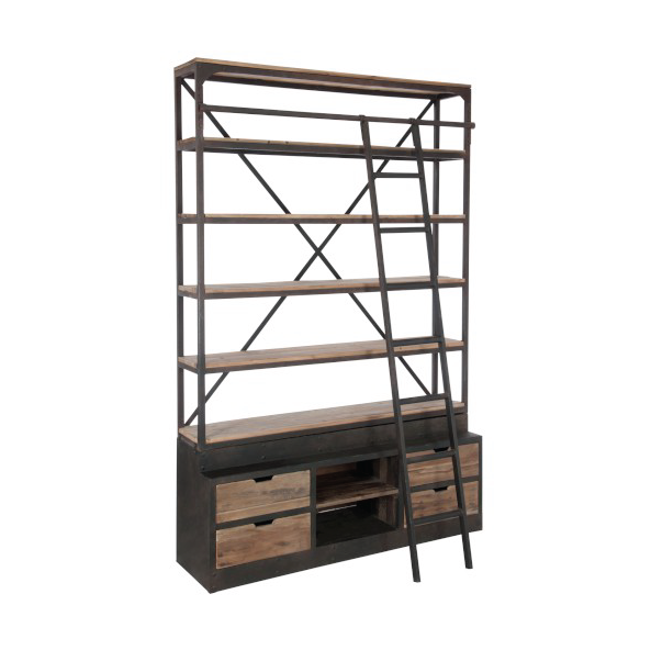 Rack & Ladder 4 Shelves, Wood / Metal, Natural / Brown, 160x45x243CM