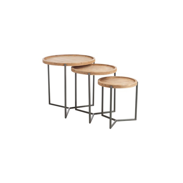 Set of 3 Side Tables, Wood / Metal, Natural