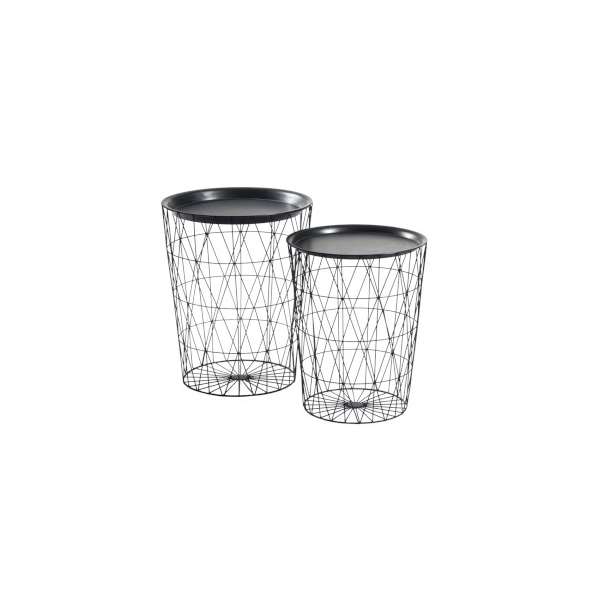 Set of 2 Side Tables, Round Bars, Metal, Black