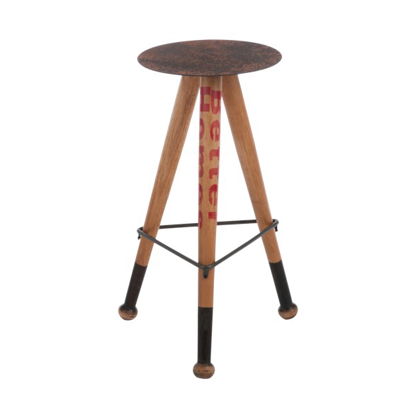 Round Stool Baseball, Metal / Wood, Natural
