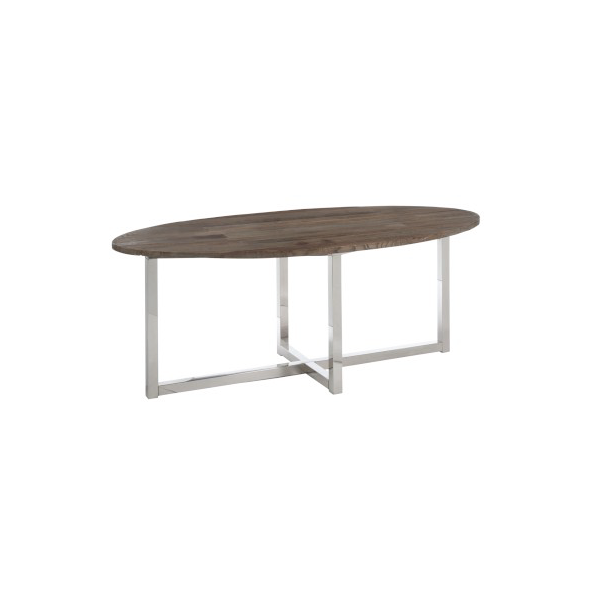 Oval Dining Table, Wood / Inox, Brown, 200x100x76CM