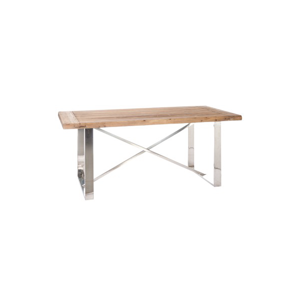 Dining Table Cross, Wood / Metal, Natural / Silver, 180x90x76CM
