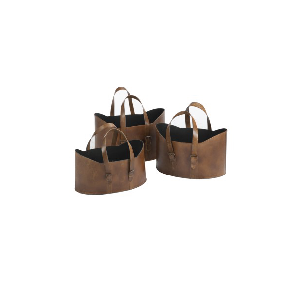 Set of 3 Baskets, Leather, Brown