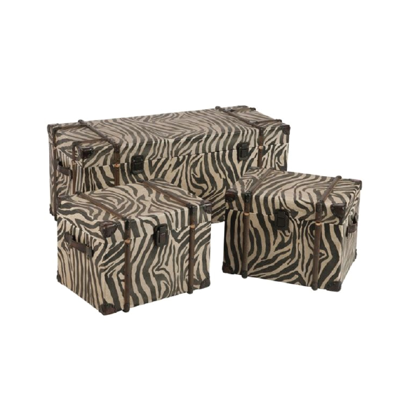 Set of 4 Trunks, Wood / Leather, Zebra