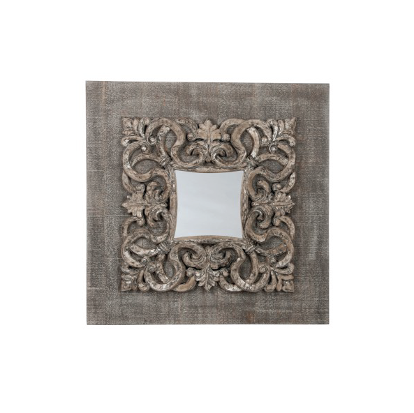 Square Mirror Baroque, Wood / Glass, Antique Grey, 110x12x110CM
