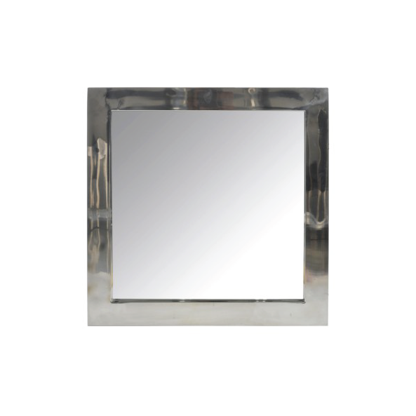 Square Mirror, Stainless Steel / Glass, Silver