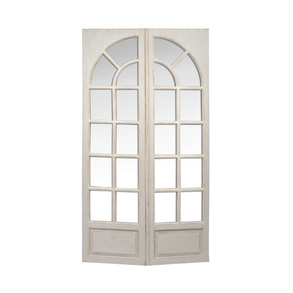 Rectangular Mirror Window, Wood, White, 76x15.5x122.5CM