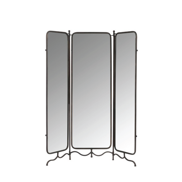 Folding Screen Mirror, Metal, Grey