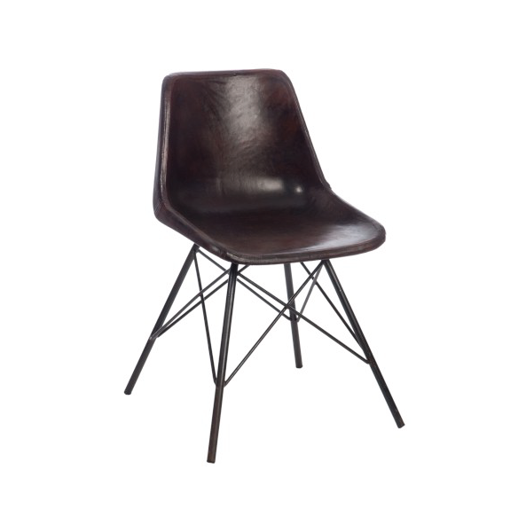 Chair Cross, Metal/Leather, Dark Brown