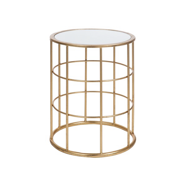 Side Table, Bars, Metal / Glass, Gold