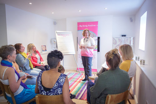 Copy of Group mindful eating workshop in Bristol showing Lisa and group of women helping to ditch the diet with positive body image