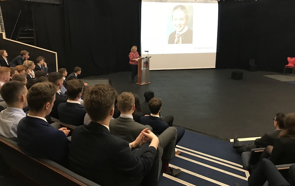 "- ""Lisa spoke confidently and expertly to a large group of our sixth form students in September 2018. Being a boys' school which has recently become co-educational, Lisa adapted her talk brilliantly to suit the audience and delivered an important and reflective message about aspects of both mental and physical health – such a valuable message for young people today. Thank you Lisa for bringing your expertise and knowledge to our students.""  Richard Porter, Headteacher of QEH sixth form."