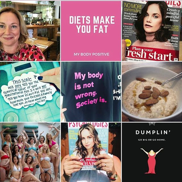 My #topnine2018. I'm pretty chuffed! Partly because I didn't even know HIW to do a top nine and also because it's summed up my year pretty well. I'm amazed there are no photos of cake though!! 🤣🤣xx #happynewyear #bopowarrior #foodfreedomcoach #bodypositive #haes #dietsdontwork #psychologiesmagazine @kiltertheatre @camilladempster @dumplin.movie