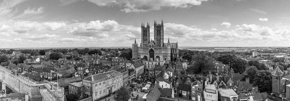 Looking out from Lincoln's Castle walls to the Cathedral and Castle Square below...
