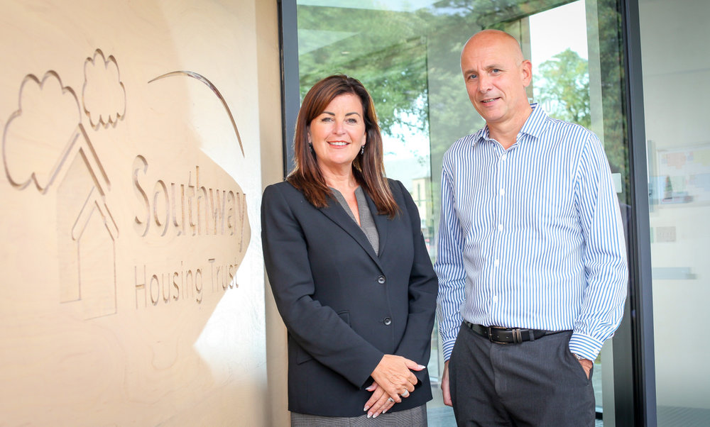 Lisa Thornton (L) and Stephen Murden (R) outside the new Southway Housing Trust offices.jpeg