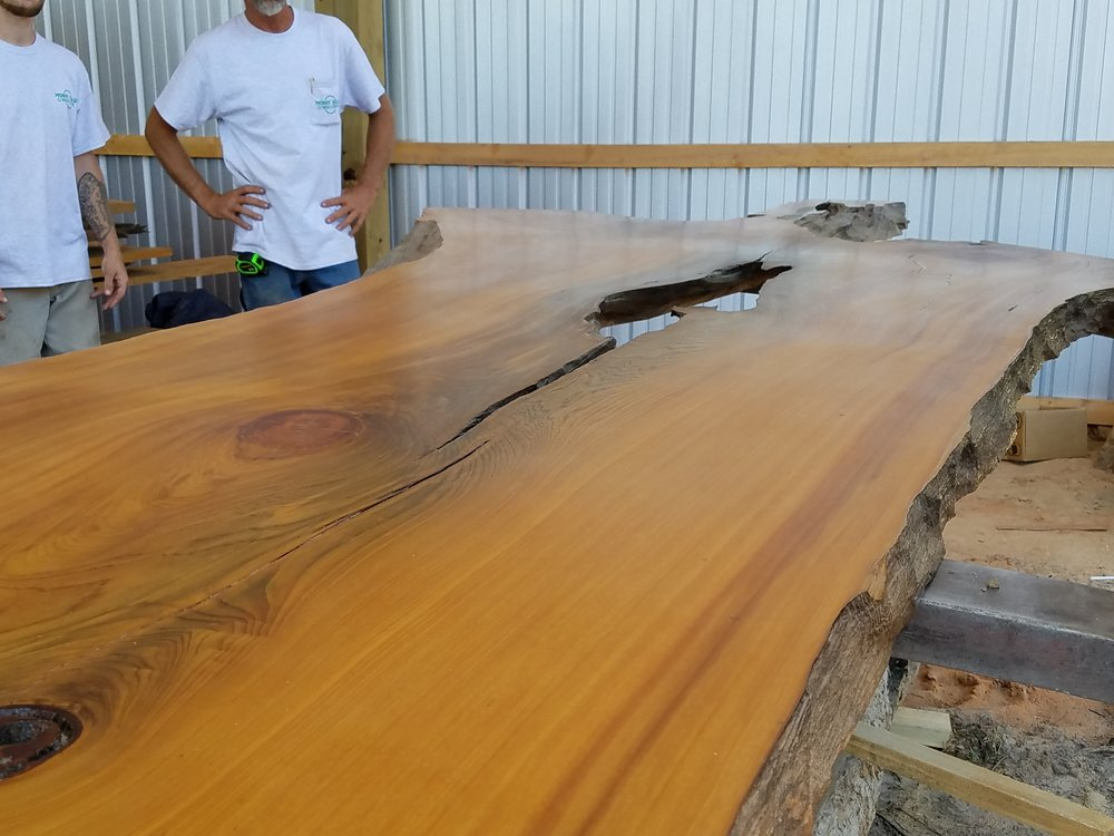 Large Reclaimed Sinker Cypress Table Slab