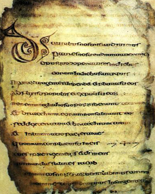 Cathach of St. Columba. This is the earliest known medieval Irish manuscript.. 6th century AD. Now on display at the library of Trinity College, Dublin.