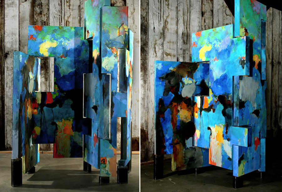 Screens, polyflex on cabinetry, 2011. Dimensions variable, up to 11 ft x 9 ft.