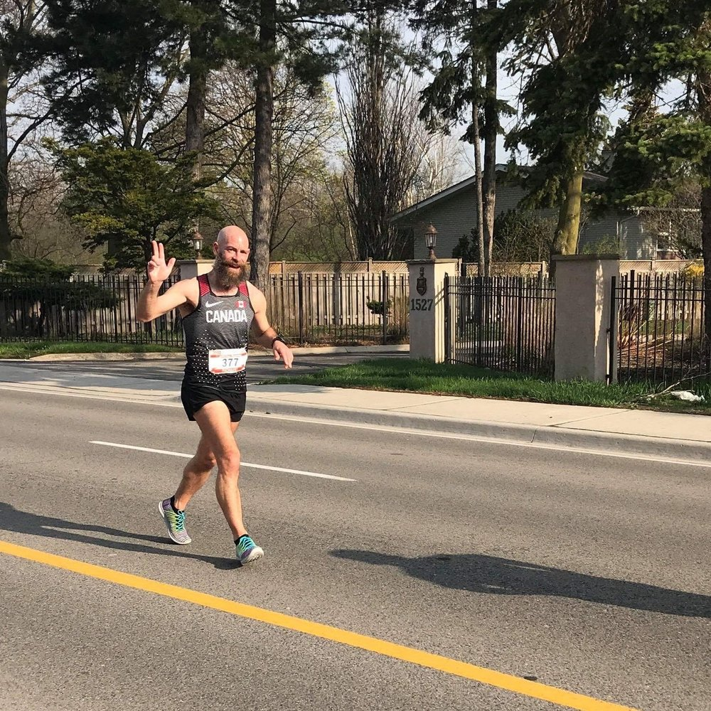 Mississauga Marathon, May 2018. All smiles here at around 16km.