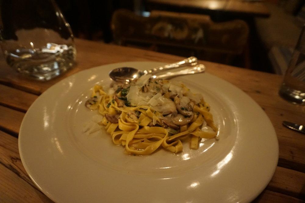 Tagliatelle Pasta with Porcini Mushrooms.