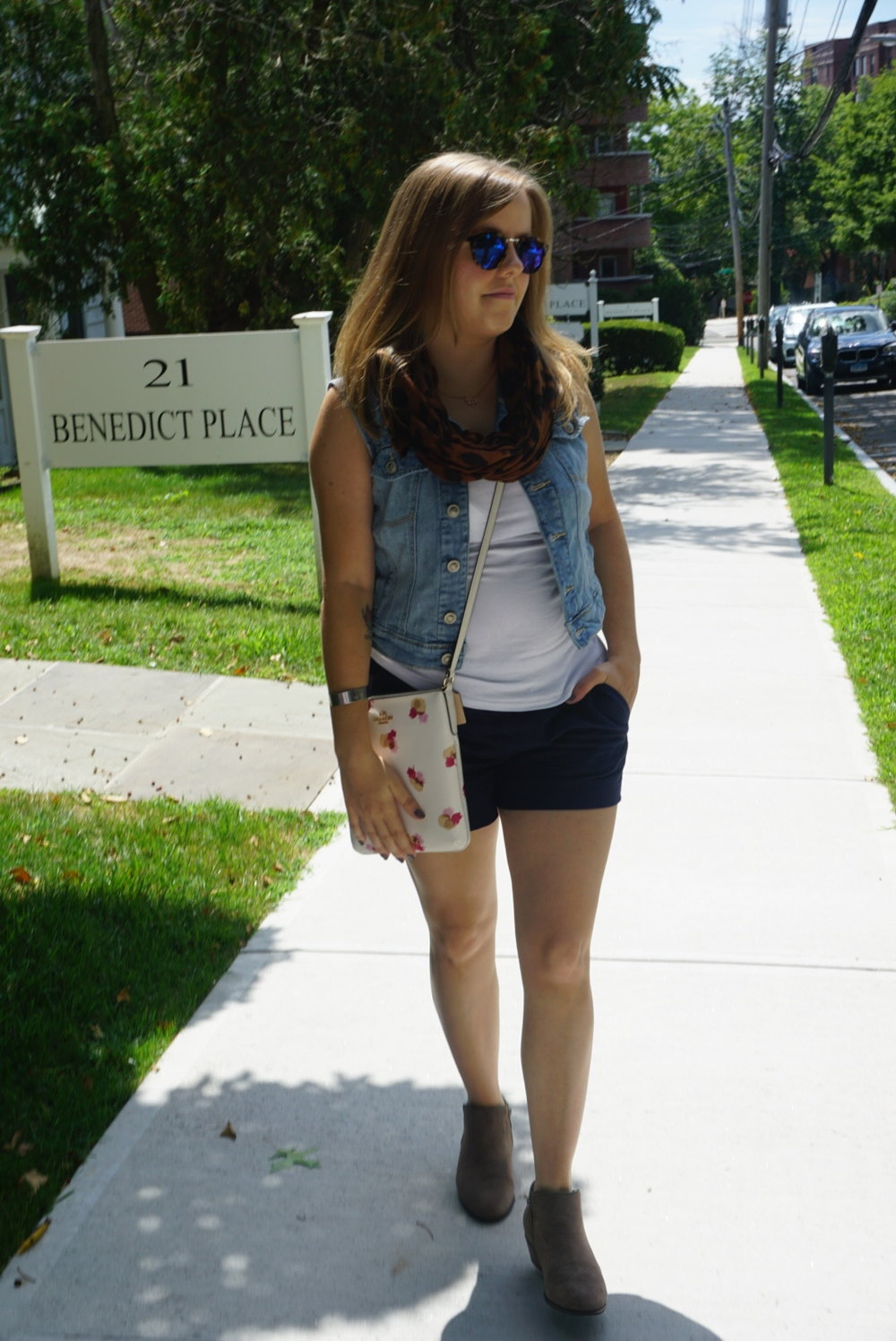 Shorts: JCrew, Denim Vest: Lauren Conrad for Kohls, Shoes: Crown Vintage, Accessories: Bag-Coach, Sunglasses- Madewell, Scarf- DSW = $177 Total for Outfit