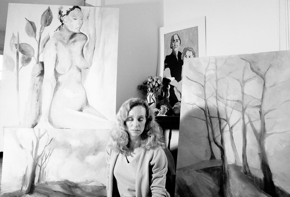 Anne surrounded by her paintings, 2001