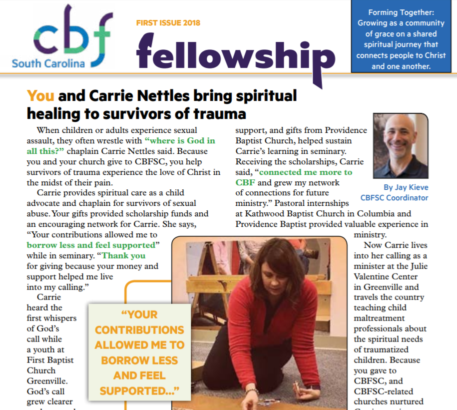 CBF Fellowship Newsletter - Scroll back through the archives or subscribe! If you would like to receive the CBFSC printed newsletter, be placed on the CBFSC e-newsletter list, or both, please enter your email address on this page. We send the e-newsletter every week, usually on Wednesday.