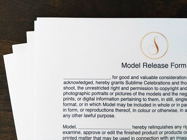 Model release forms... You know what that means! Styled shoot!!! Karen's been a busy bee getting things ready and it's go time this Sunday! #sublimecelebrations #team #sneakpeek #newlogo #logo #brand #style #styledshoot #desginer #pretty #prettythings
